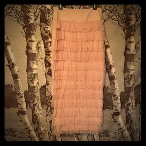 Long blush tiered ruffle skirt
